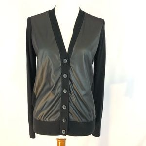 Ann Taylor Black Faux Leather Front Cardigan
